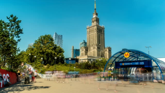 warsaw poland palace of culture and science time lapse - poland stock videos & royalty-free footage