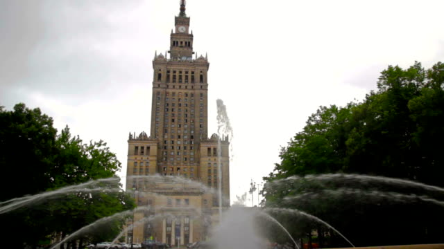 warsaw, poland - palace of culture and science - eastern european culture stock videos & royalty-free footage