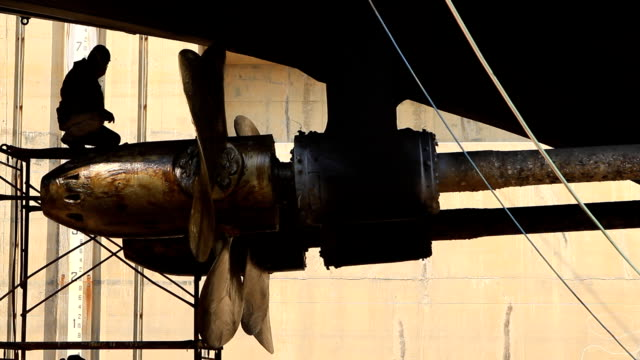 warship repaired in dock - propeller stock videos & royalty-free footage