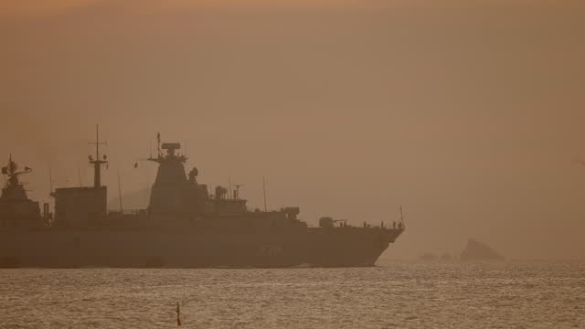 warship sails out of port - warship stock videos & royalty-free footage