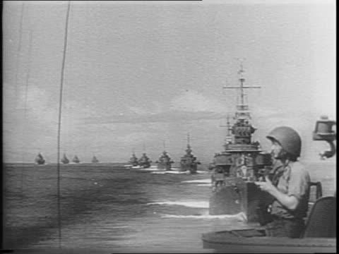 warships at sea / sailor on bridge wigwagging / navy fleet in water / shirtless sailors cleaning gun / admiral william halsey vice admiral thomas... - william halsey stock-videos und b-roll-filmmaterial