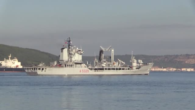 nato warships heading to join the nusret2019 drill passes through dardanelles strait in canakkale turkey on october 03 2019 - kriegsschiff stock-videos und b-roll-filmmaterial