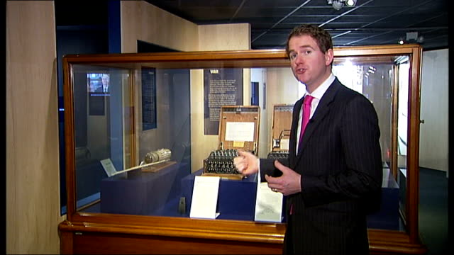 wartime carrier pigeon wartime message cracked by canadian researchers london science museum reporter to camera various of 'enigma' code breaking... - enigma machine stock videos & royalty-free footage