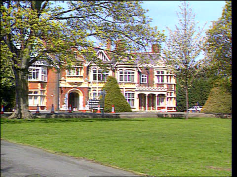 war-time intelligence centre to become a museum; lib england: buckinghamshire: bletchley: ext various shots of exterior of bletchley park manor house - stately home stock videos & royalty-free footage