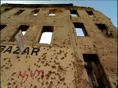 War-torn bullet-riddled building Mostar