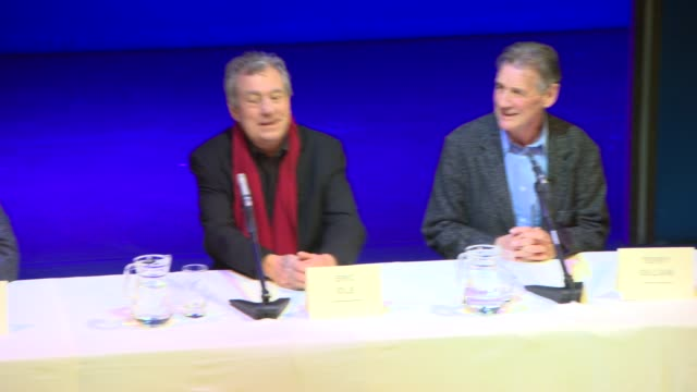 warwick davis, terry gilliam, john cleese, terry jones, michael palin, eric idle at monty python press conference at playhouse theatre on november... - terry gilliam stock videos & royalty-free footage
