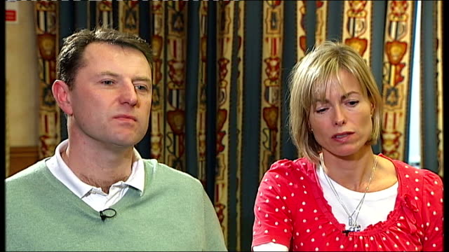 warwickshire birmingham int kate mccann interview sot felt libel was damaging search to find madeleine kate mccann and gerry mccann along through... - kate mccann stock videos & royalty-free footage