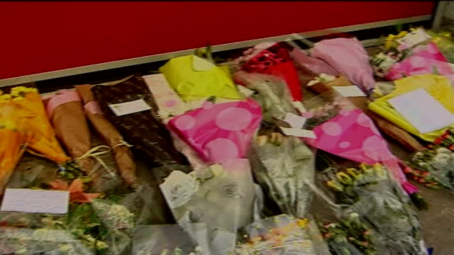 four firefighters feared dead alcester floral tributes outside fire station close shot of tribute letter to ashley from his fiance relatives... - fiancé stock videos & royalty-free footage