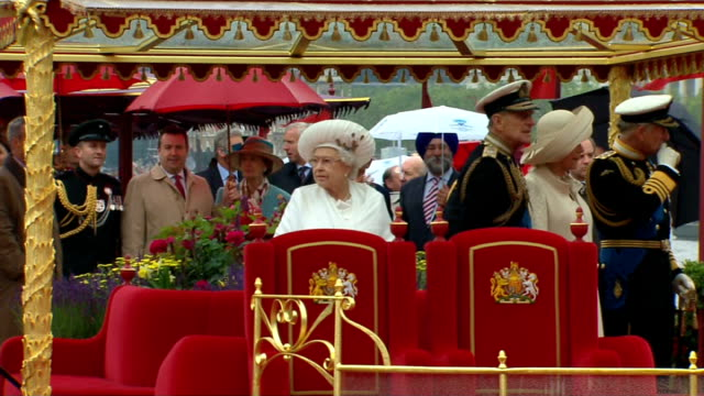 was second wettest year on record; r03061212 / 3.6.2012 london: river thames: queen elizabeth ii on board spirit of chartwell during diamond jubilee... - diamond jubilee stock videos & royalty-free footage