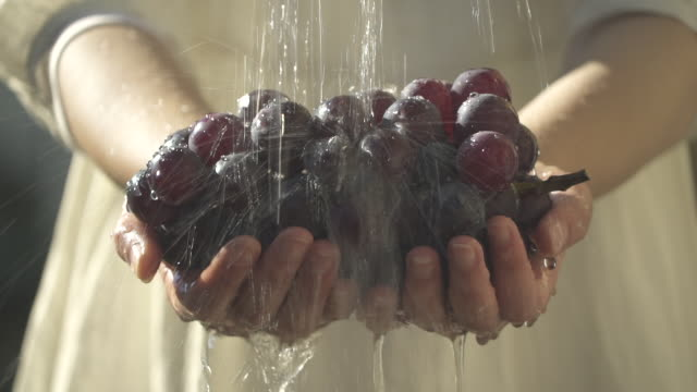 Wash the fresh grapes with clean water.