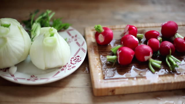 washed fennel bulbs and radishes - plant bulb stock videos & royalty-free footage