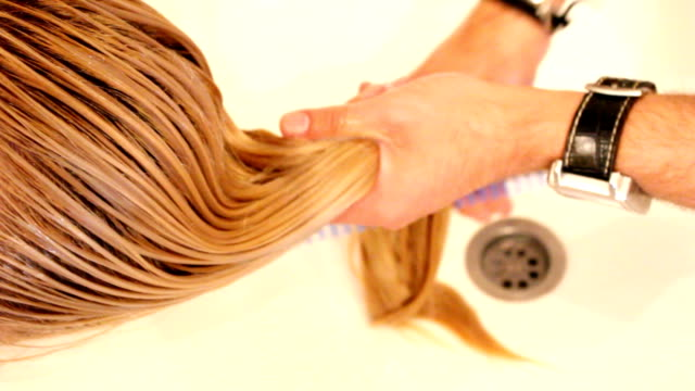 washing hair (hd) - straight hair stock videos & royalty-free footage