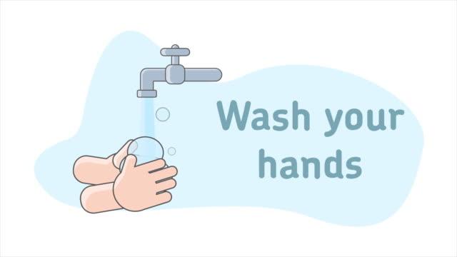 vídeos de stock e filmes b-roll de washing hands cartoon animation sign - higiene