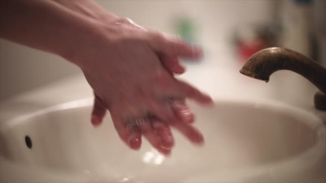 washing hands close up interior - running water stock videos & royalty-free footage