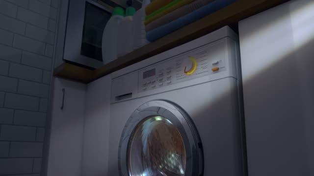washing machine with laundry - washing machine stock videos & royalty-free footage