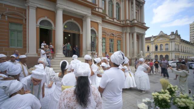 washing of the steps of porto alegre city hall - alegre stock-videos und b-roll-filmmaterial