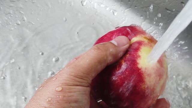 vídeos y material grabado en eventos de stock de lavado de fruta de melocotón - bolsa reutilizable