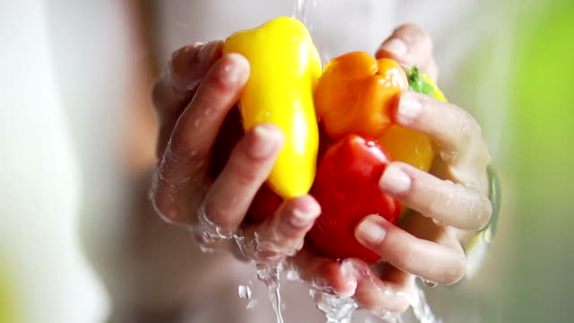 washing peppers by hand - pepper vegetable stock videos and b-roll footage