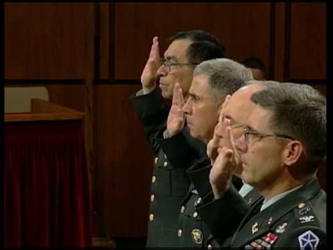 washington capitol hill side lieutenant general ricardo sanchez commander of multinational task force and general john abizaid centcom commander... - department of defense stock videos and b-roll footage