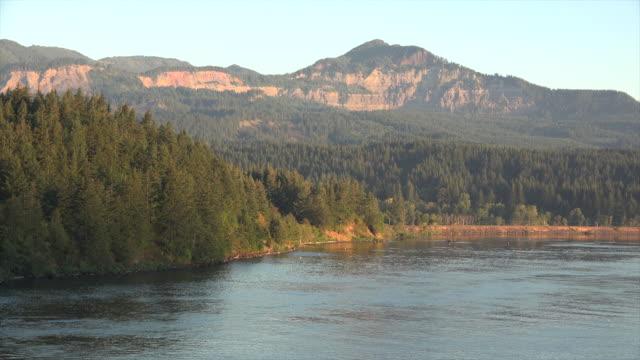 washington cliffs beyond river - columbia river gorge stock videos & royalty-free footage