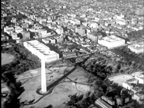 stockvideo's en b-roll-footage met 1935 b/w aerial montage washington cotscape and washington monument / united states / audio - 1935