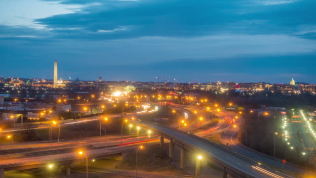 washington, d.c. city skyline at twilight - arlington virginia stock videos & royalty-free footage