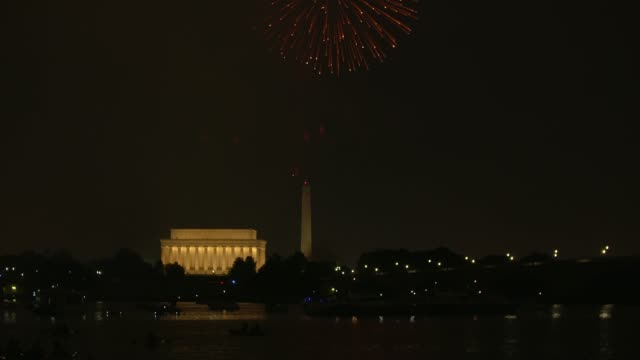 Washington DC Fireworks with the Lincoln Memorial and Kayakers in the foreground