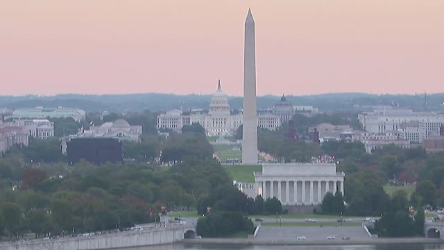 washington dc ext general views potomac river / washington monument and united states capitol / lincoln memorial / traffic along / thomas jefferson... - jefferson memorial stock videos and b-roll footage