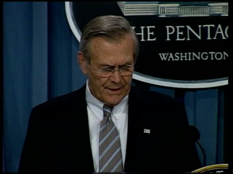 washington dc int donald rumsfeld press conference sot - they are beginning to realise regime is history, and as that realisation sets in their... - day 1 stock videos & royalty-free footage