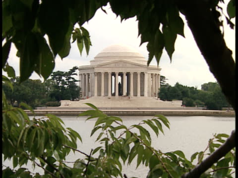 vidéos et rushes de ms, zo, usa, washington, d.c., jefferson memorial framed with tree branches - jefferson memorial