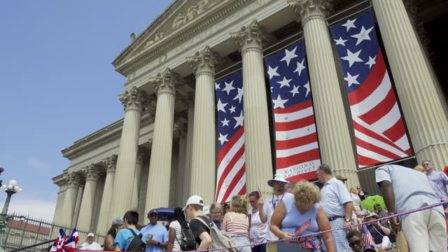 national archives of the united states national independence day parade via constitution avenue along the national mall from 7th to 17th street - national archives washington dc stock videos and b-roll footage