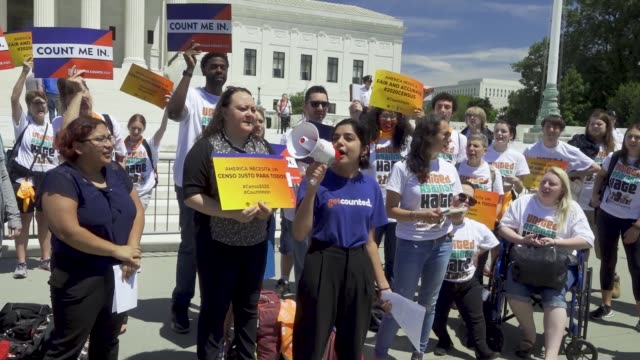 activist rally outside the us supreme court to oppose the controversial citizenship question in the next census the highest us court has not decided... - census stock videos & royalty-free footage