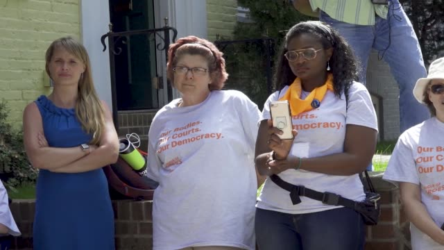 ProChoice activist rally in front of Senator Mitch McConnell's home in Washington DC in light of the anniversary of Roe v Wade a landmark decision...