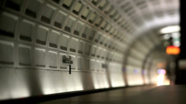 washington dc metro (tilt shift lens) - underground train stock videos & royalty-free footage