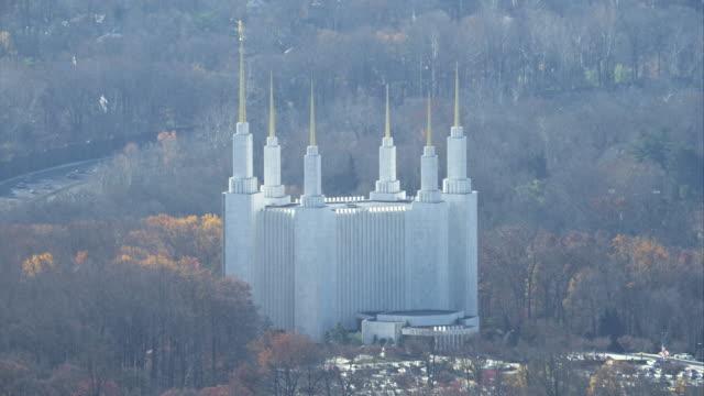 washington dc mormon temple in kensington, maryland. shot in november 2011. - artbeats stock-videos und b-roll-filmmaterial