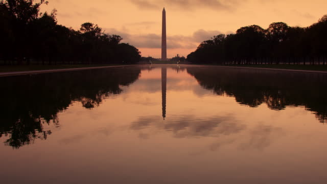 washington d.c. national mall at dawn - washington monument washington dc stock videos & royalty-free footage