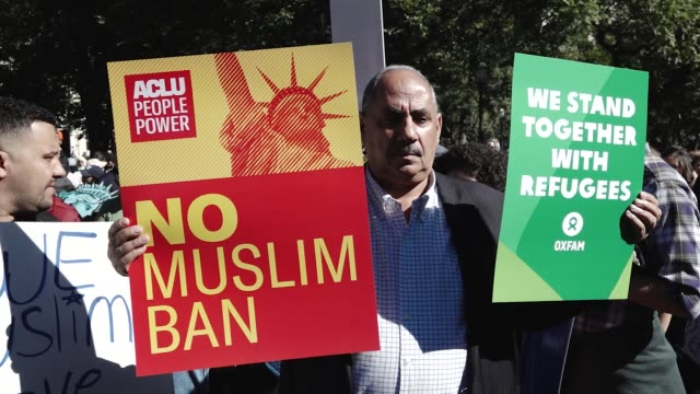 activist and supporters protest president donald trump's third travel ban proposal which restricts entry into the united states from muslimmajority... - forbidden stock videos & royalty-free footage