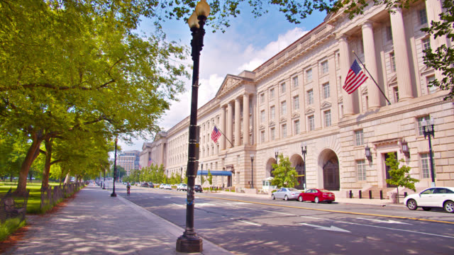 washington dc street. retro style building. american flag. park. - government building stock videos & royalty-free footage