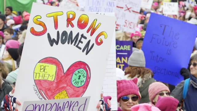 washington dc united states – january 19 2019 3rd annual women's march held in washington dc thousands rallied at freedom plaza and marched down... - pennsylvania avenue video stock e b–roll