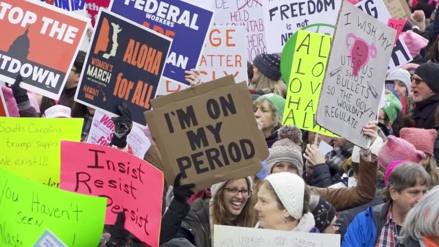 washington dc united states – january 19 2019 3rd annual women's march held in washington dc thousands rallied at freedom plaza and marched down... - freedom plaza video stock e b–roll