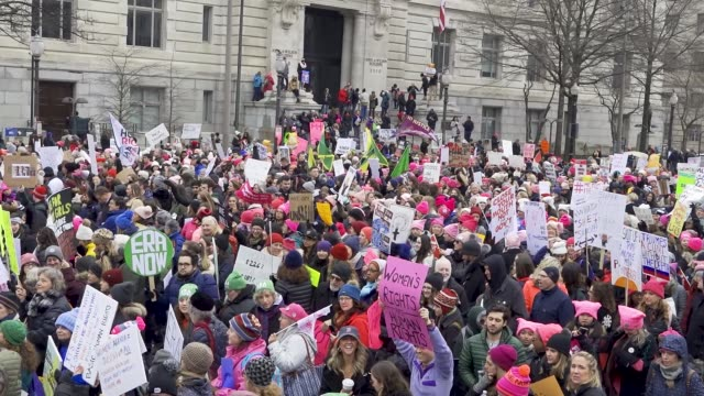 washington dc united states – january 19 2019 3rd annual women's march held in washington dc thousands rallied at freedom plaza and marched down... - marciare video stock e b–roll