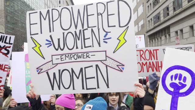 washington dc united states – january 19 2019 3rd annual women's march held in washington dc thousands rallied at freedom plaza and marched down... - 女性の権利点の映像素材/bロール