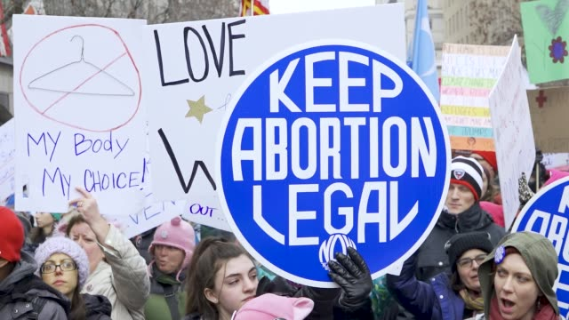 washington dc, united states – january 19, 2019: 3rd annual women's march held in washington d.c. thousands rallied at freedom plaza and marched down... - abortion stock videos & royalty-free footage