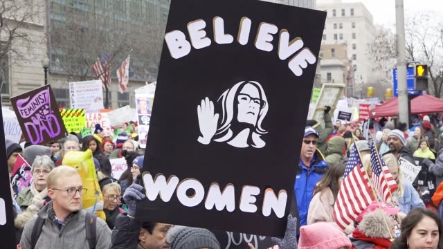 washington dc, united states – january 19, 2019: 3rd annual women's march held in washington d.c. thousands rallied at freedom plaza and marched down... - marching stock videos & royalty-free footage