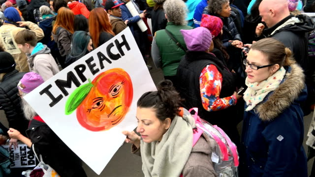 washington dc united states – january 21 2017 hundreds of thousands of people took part in the women's march in washington on jan 21 to protest us... - banner sign stock videos and b-roll footage