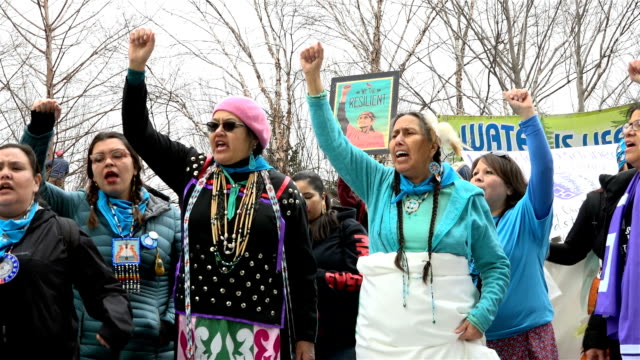 vidéos et rushes de washington dc, united states – january 21, 2017: hundreds of thousands of people took part in the women's march in washington on jan. 21 to protest... - amérindien