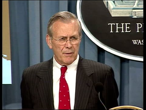washington dc: us secretary of state donald rumsfeld press conference sot - the people we've got in iraq are in large measure iraqi people who belong... - irak stock-videos und b-roll-filmmaterial