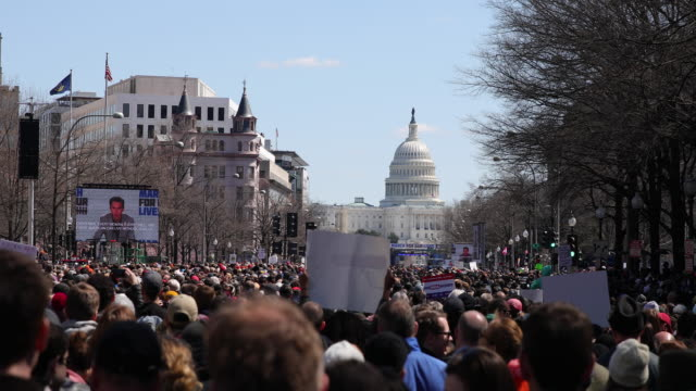 vídeos de stock, filmes e b-roll de a protester holds a sign reading nra takes russian money protesters participate in the march for our lives rally on march 24 2018 in washington dc... - washington dc