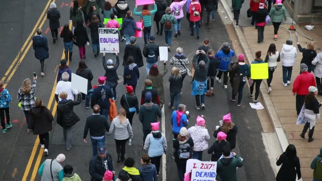 Marchers head to the back of the march before the Women's March on Washington However so many showed up that the march was canceled but three...