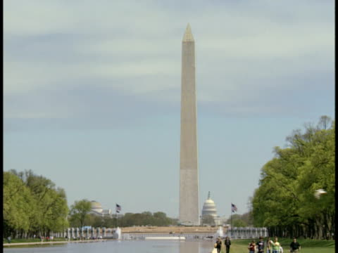ms, usa, washington, d.c., washington monument - placca di montaggio fissa video stock e b–roll